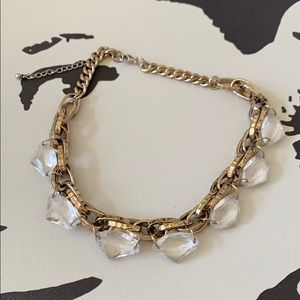 Gold and crystal statement necklace.